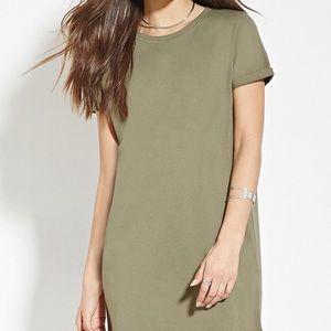 F21 Sage Green Crepe Tshirt Dress